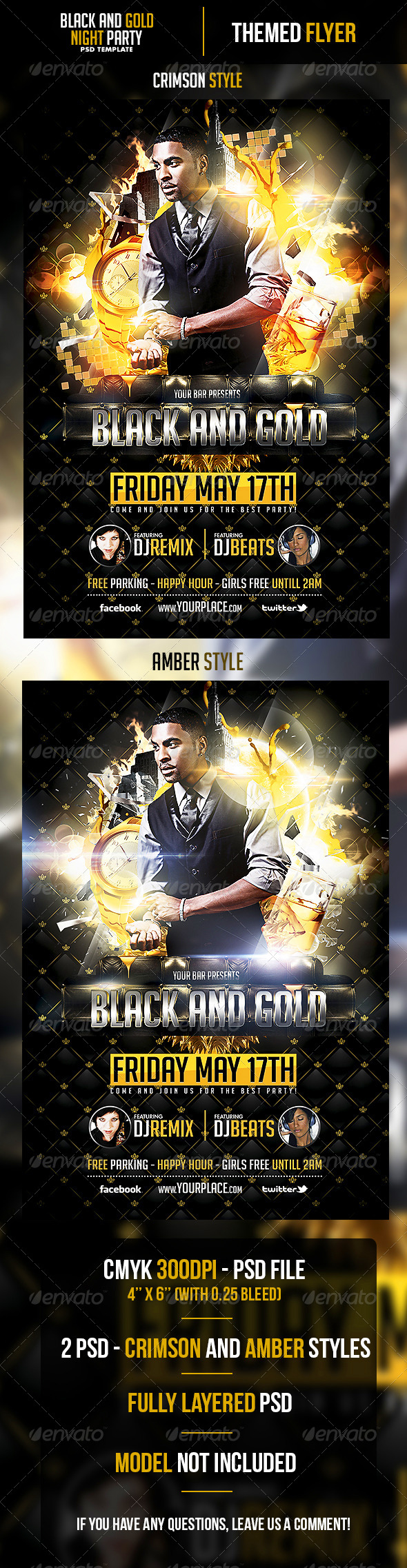 Black and Gold Night Flyer Template - Clubs & Parties Events