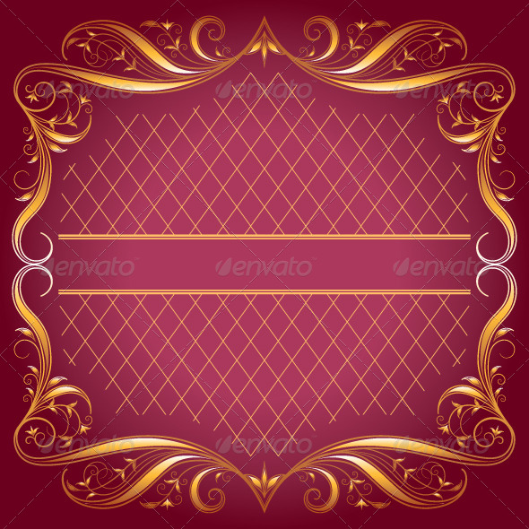 GraphicRiver Vintage Frame on Dark Rose Background 4833356