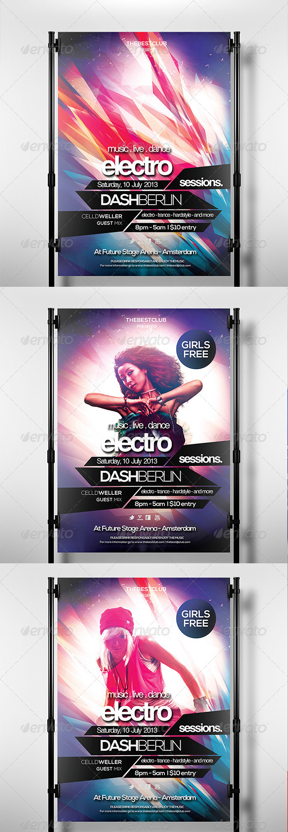 Electro Sessions 3 Flyer Template - Clubs & Parties Events