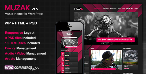 Muzak - Music Premium WordPress theme - Music and Bands Entertainment