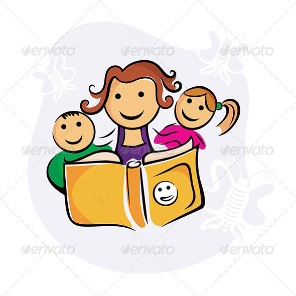 GraphicRiver Kids Enjoying Study with Guardian 4837001