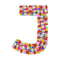 J, letter of the alphabet in different flowers isolated on white background - PhotoDune Item for Sale