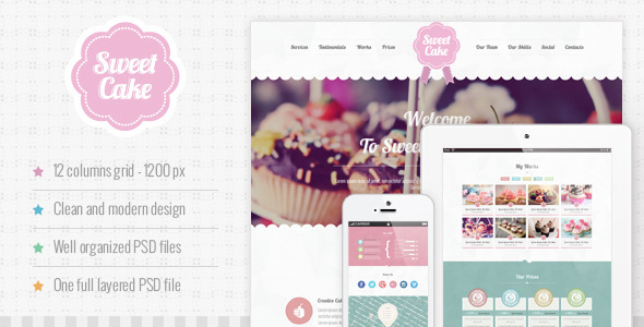 ThemeForest Sweet Cake One Page PSD Theme 4838342