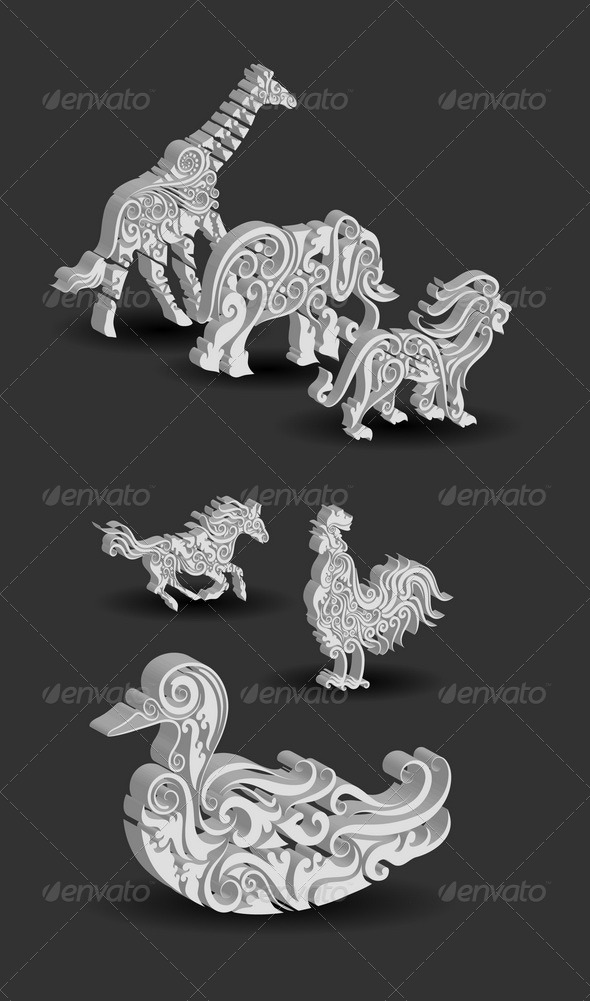 GraphicRiver Animals Engraving Ornament 4849202