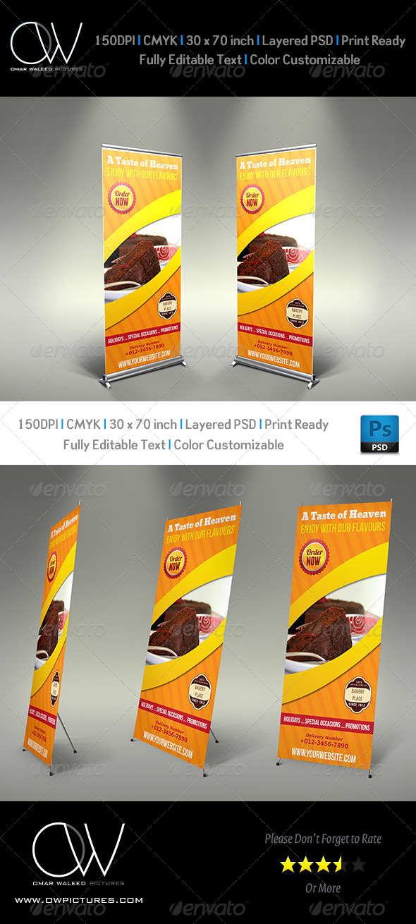 GraphicRiver Cake Signage Roll-Up Banner 4849314