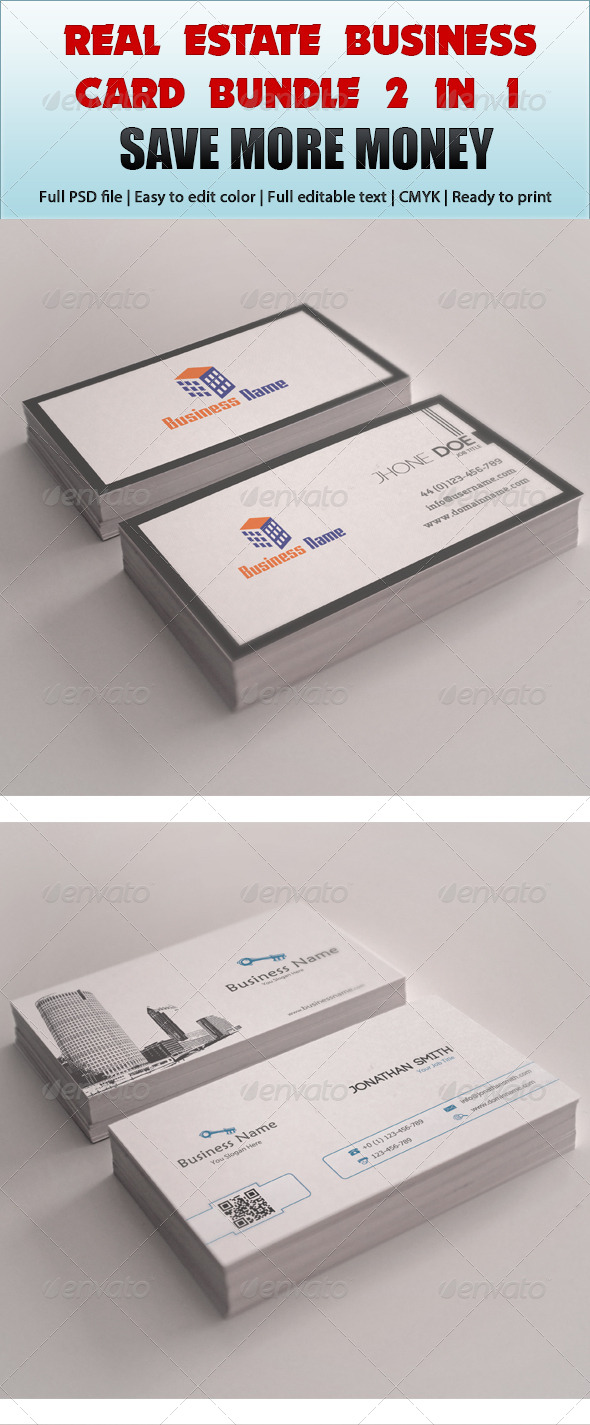 GraphicRiver Real Estate Business Card Bundle 2 in 1 4851678