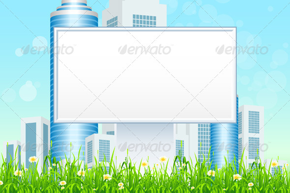 GraphicRiver Empty Billboard in the Grass 4852920