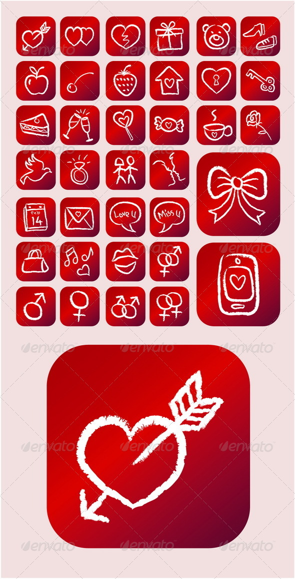 GraphicRiver Love Icons Chalk Drawing Style 4836681