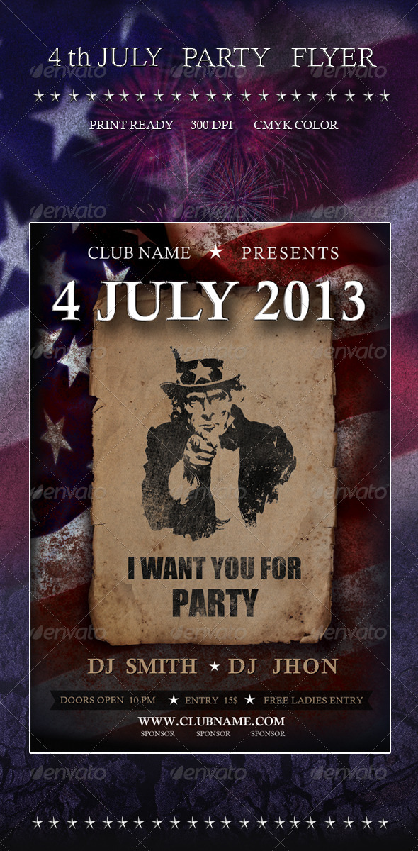 GraphicRiver 4 July Party Flyer 4797902