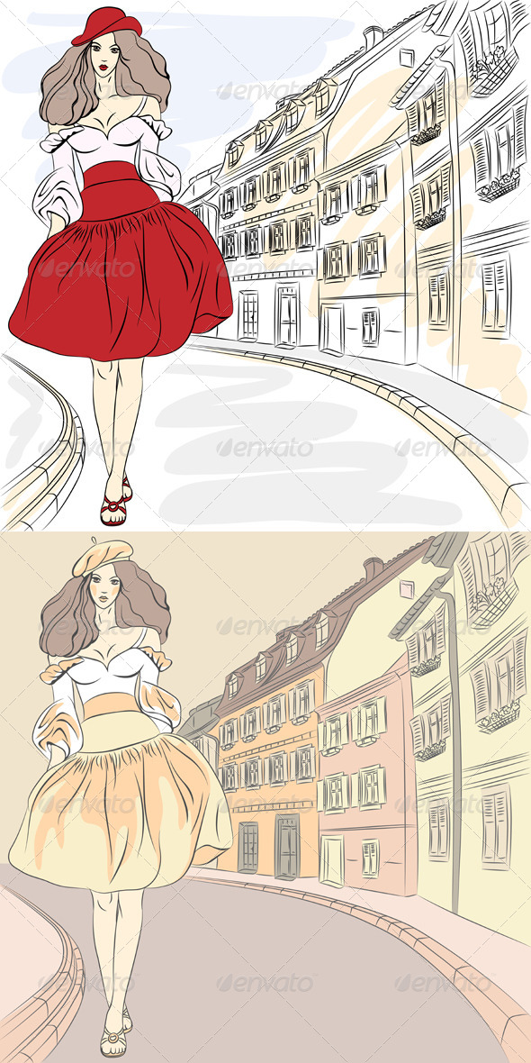 Vector Beautiful Fashion Girl Top Model in Dress - People Characters