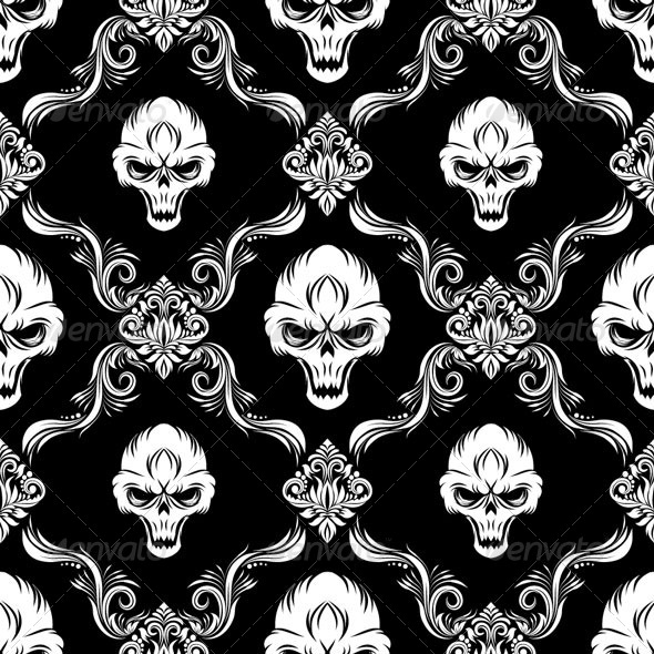 Skull Decorative Pattern - Patterns Decorative