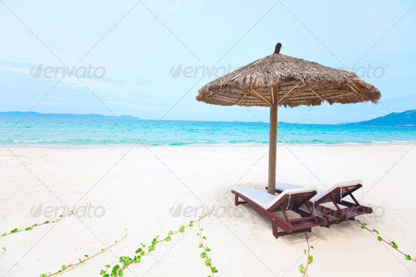 Sandy tropical beach - Stock Photo - Images
