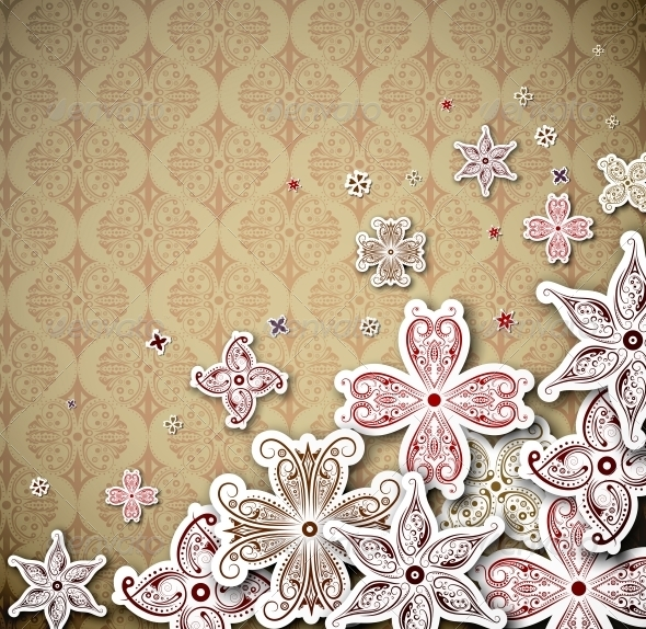 GraphicRiver Vintage Background with Flowers 4862316