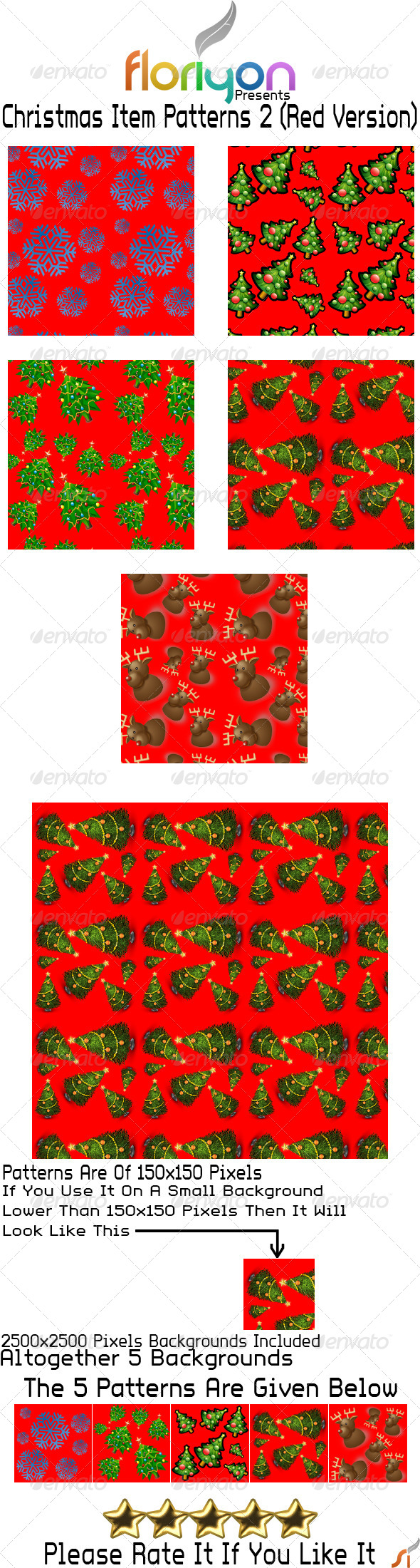 GraphicRiver Christmas Item Patterns 2 Red Version 4862897