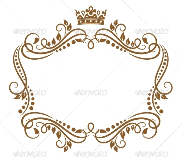Retro Frame with Royal Crown and Flowers - Borders Decorative