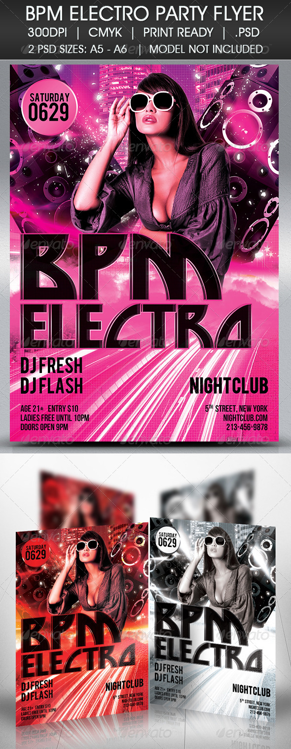 Electro BPM House Techno Party Flyer - Clubs & Parties Events