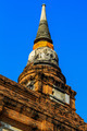 Old pagoda at temple with blue sky in Ayutthaya, Thailand. - PhotoDune Item for Sale