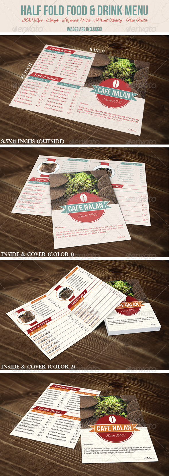 GraphicRiver Half Fold Food & Drink Menu 4869571
