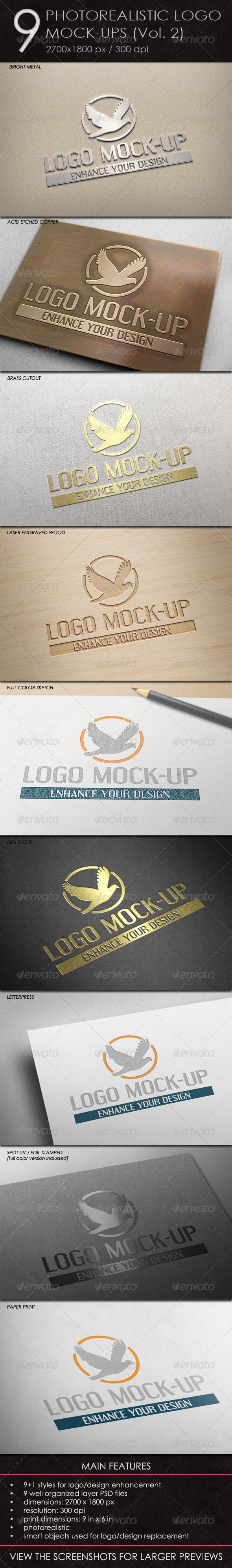 GraphicRiver 9 Photorealistic Logo Mock-Ups Vol.2 4870293