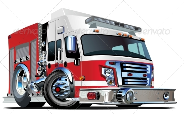 GraphicRiver Vector Cartoon Fire Truck 4871159