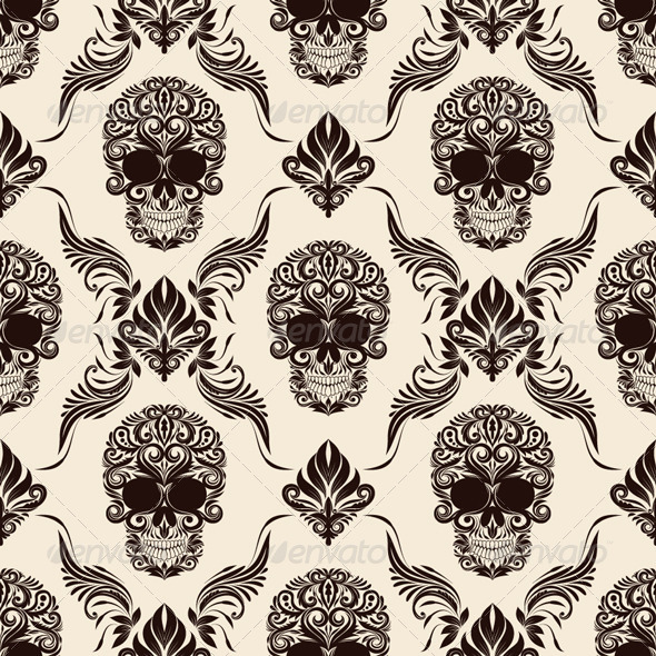 Brown Skull Pattern - Patterns Decorative