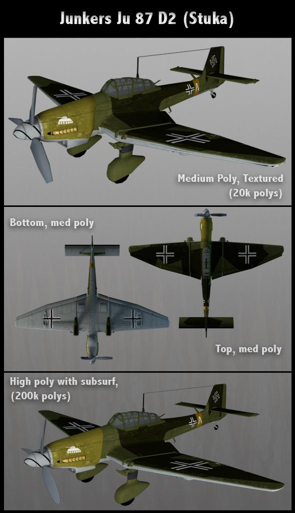 3DOcean Junkers Ju 87 D2 Stuka Med Poly 502816