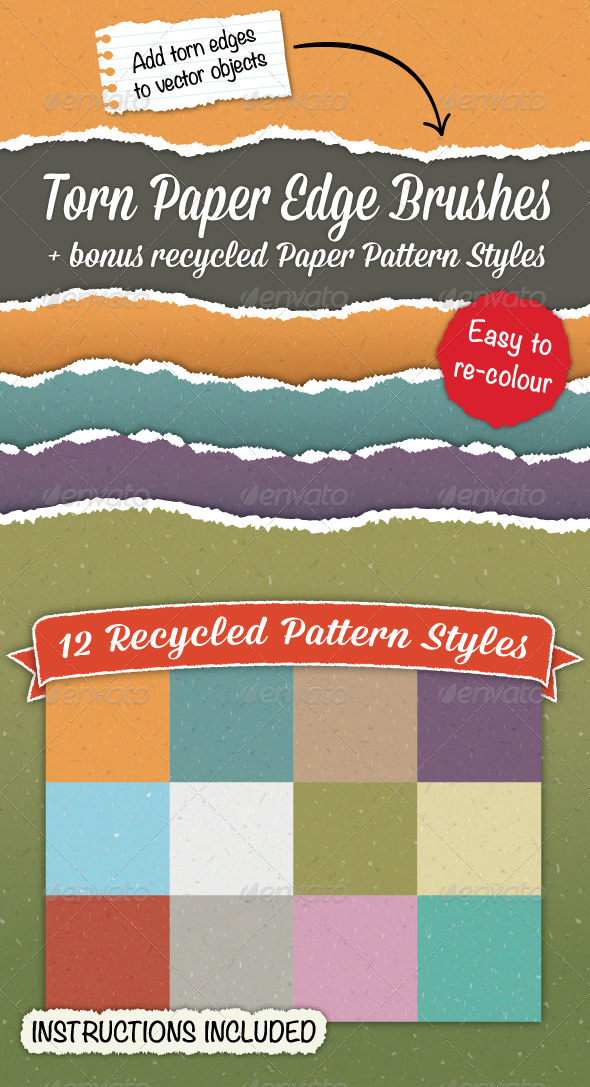 GraphicRiver Torn Paper Edge Brushes & Bonus Paper Patterns 4874113
