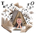 School Boy Reading Book with Letters - PhotoDune Item for Sale
