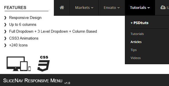 SliceNav Responsive Navigation Menu - WorldWideScripts.net vare til salg