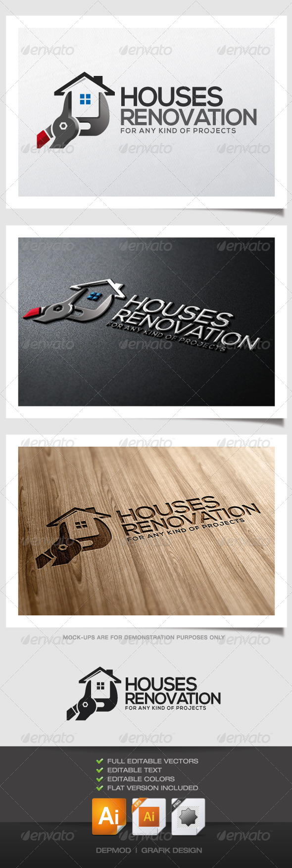 Houses Renovation Logo - Buildings Logo Templates