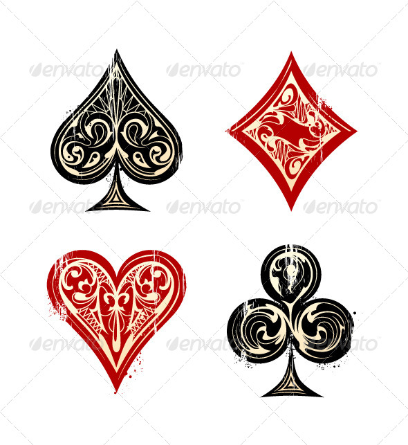 GraphicRiver Vintage Playing Cards Symbols 4877717