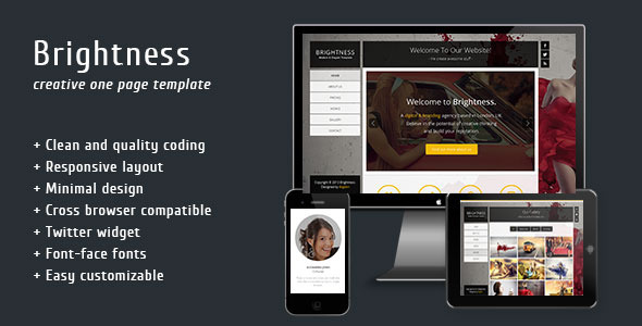 Brightness - One Page Template - Creative Site Templates