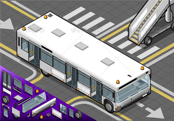 GraphicRiver Isometric Airport Bus with Open Doors in Rear View 4880333