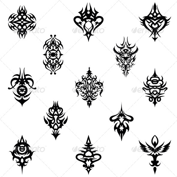 GraphicRiver Tribal Tattoo Design Elements Vector Pack 4880737