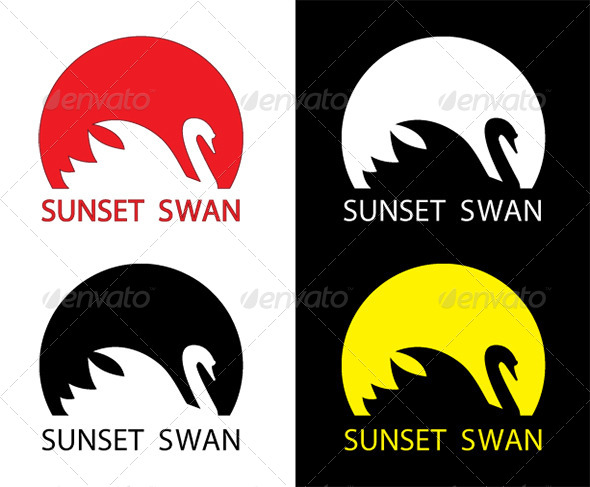 GraphicRiver Sunset Swan 3409592