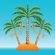 Vector three date palm trees on an island in the o - GraphicRiver Item for Sale