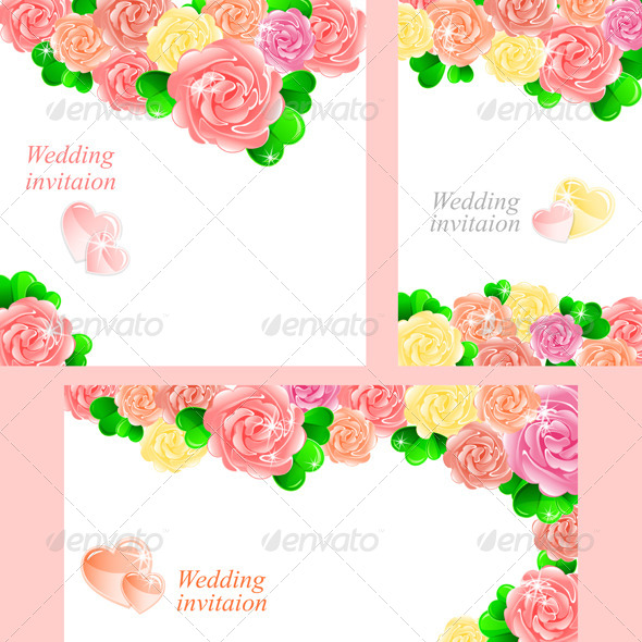 GraphicRiver Pink Wedding Invitation with Heart of Roses 4882492