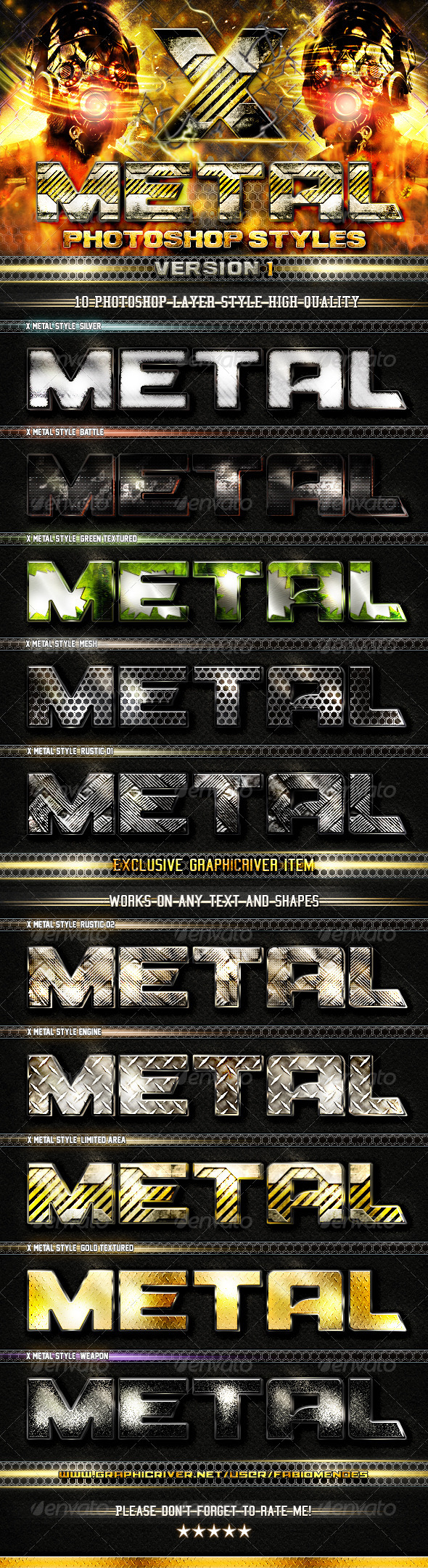 GraphicRiver X Metal Styles V.1 4882890