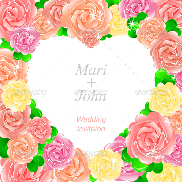 GraphicRiver Pink Wedding Invitation with Heart of Roses 4883055