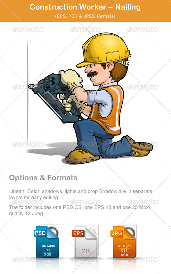 GraphicRiver Construction Worker Nailing 4883290
