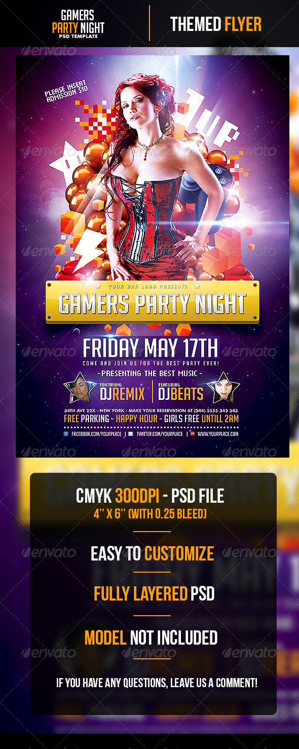 GraphicRiver Gamers Party Night Flyer Template 4819072