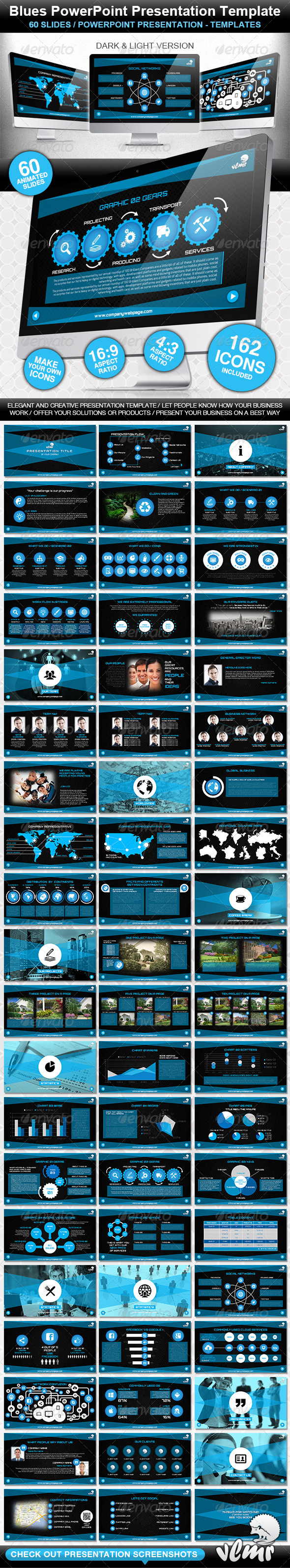 GraphicRiver Blues PowerPoint Presentation Template 4861776