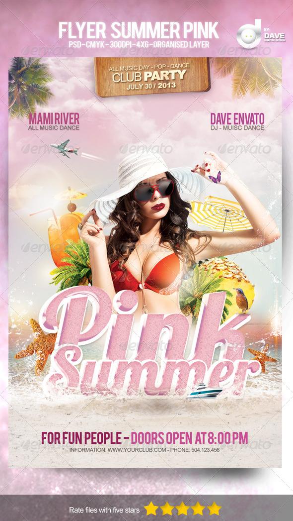 Flyers para Fiestas de Verano: Summer Pink Template