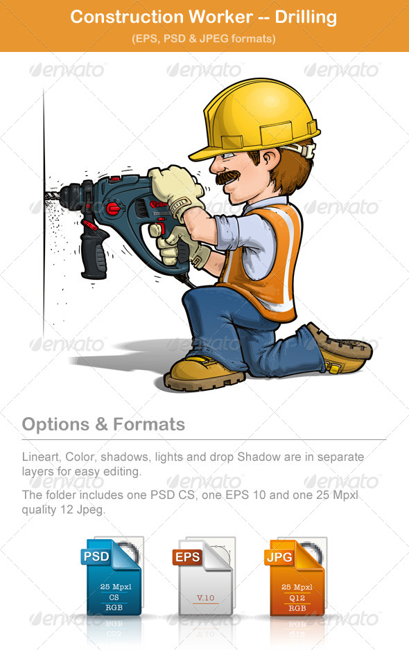 GraphicRiver Construction Worker Drilling 4884603