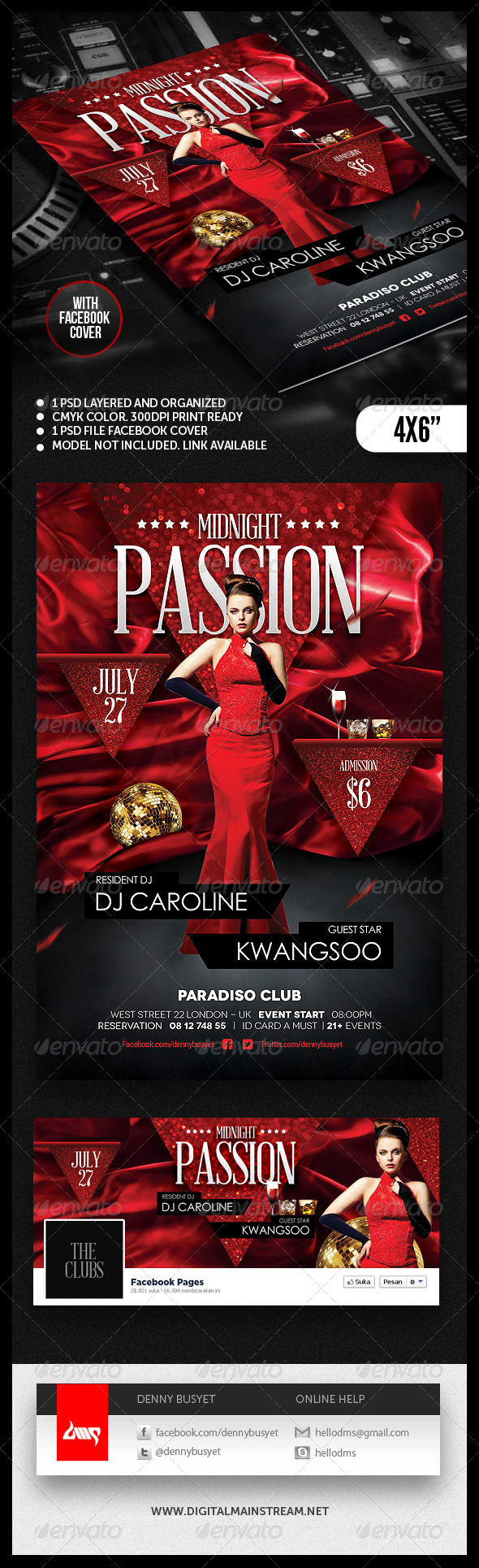 Midnight Passion Nightclub Flyer Template - Clubs & Parties Events