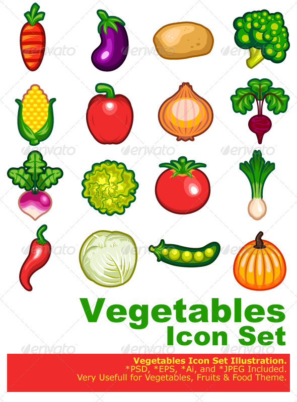 GraphicRiver Vegetables Icon Set 4886244