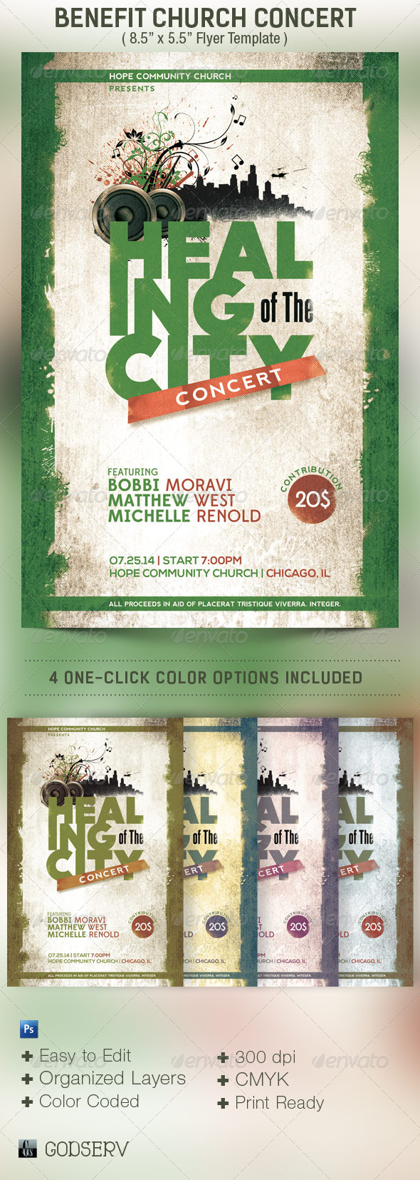 GraphicRiver Benefit Concert Church Flyer Template 4886399