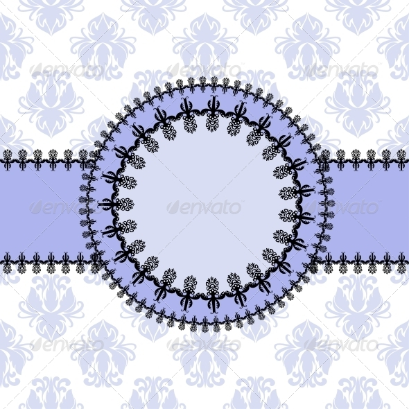 GraphicRiver Round Frame a Background of Floral Pattern 4887804