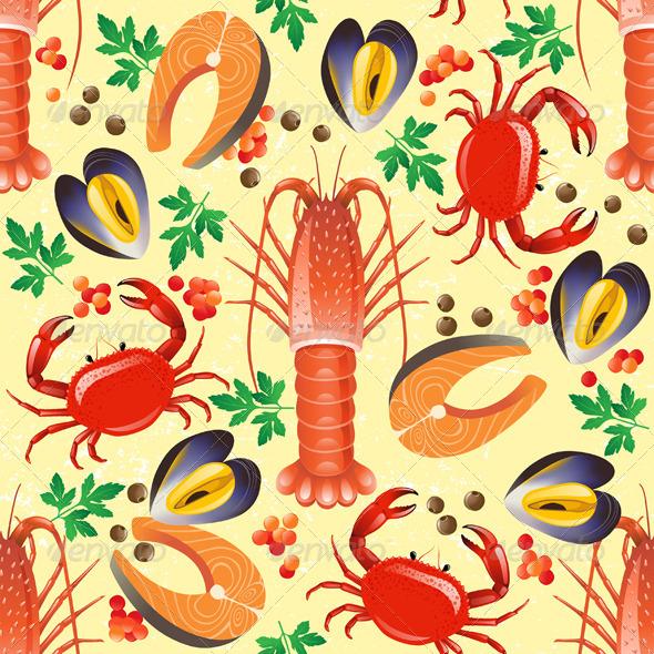 GraphicRiver Seafood Seamless 4891805
