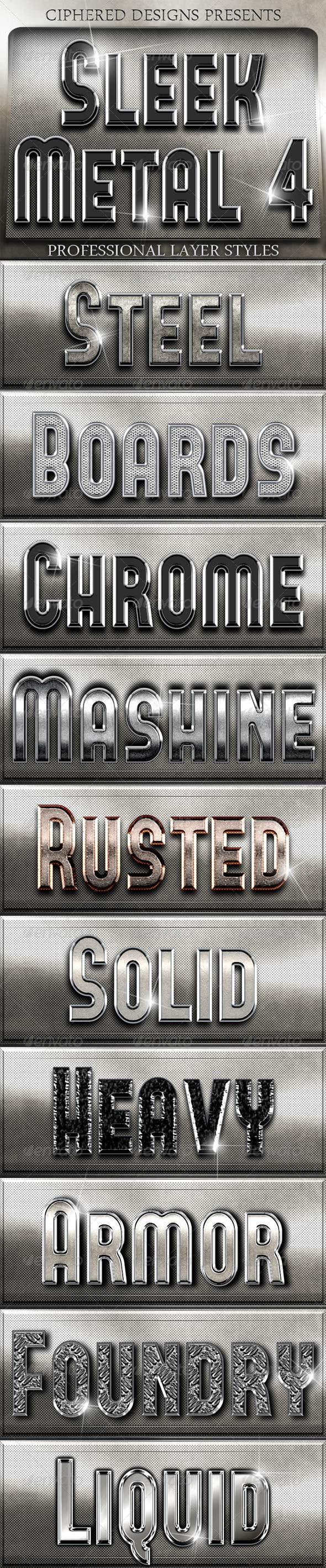 GraphicRiver Sleek Metal 4 Professional Layer Styles 4891886